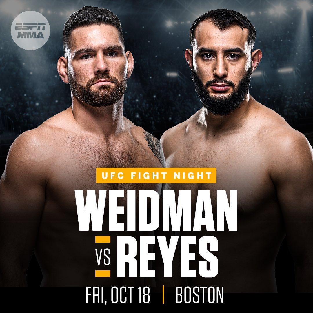 Hasta Boston! Cris Weidman vs Dominik Reyes #UFCBoston el 18 de Octubre #ufc #mma https://t.co/GFm4CdXYXA