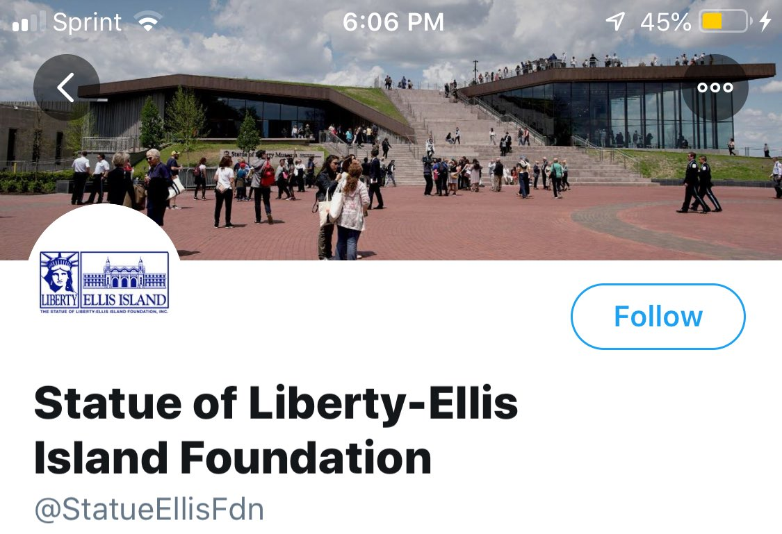 There's also this weirdo twitter account, @StatueEllisFdn, which makes no mention of Liberty Island at all and sports a creepy banner photo of people walking up stairs that lead to nothing. https://t.co/ShUfeaKiyR