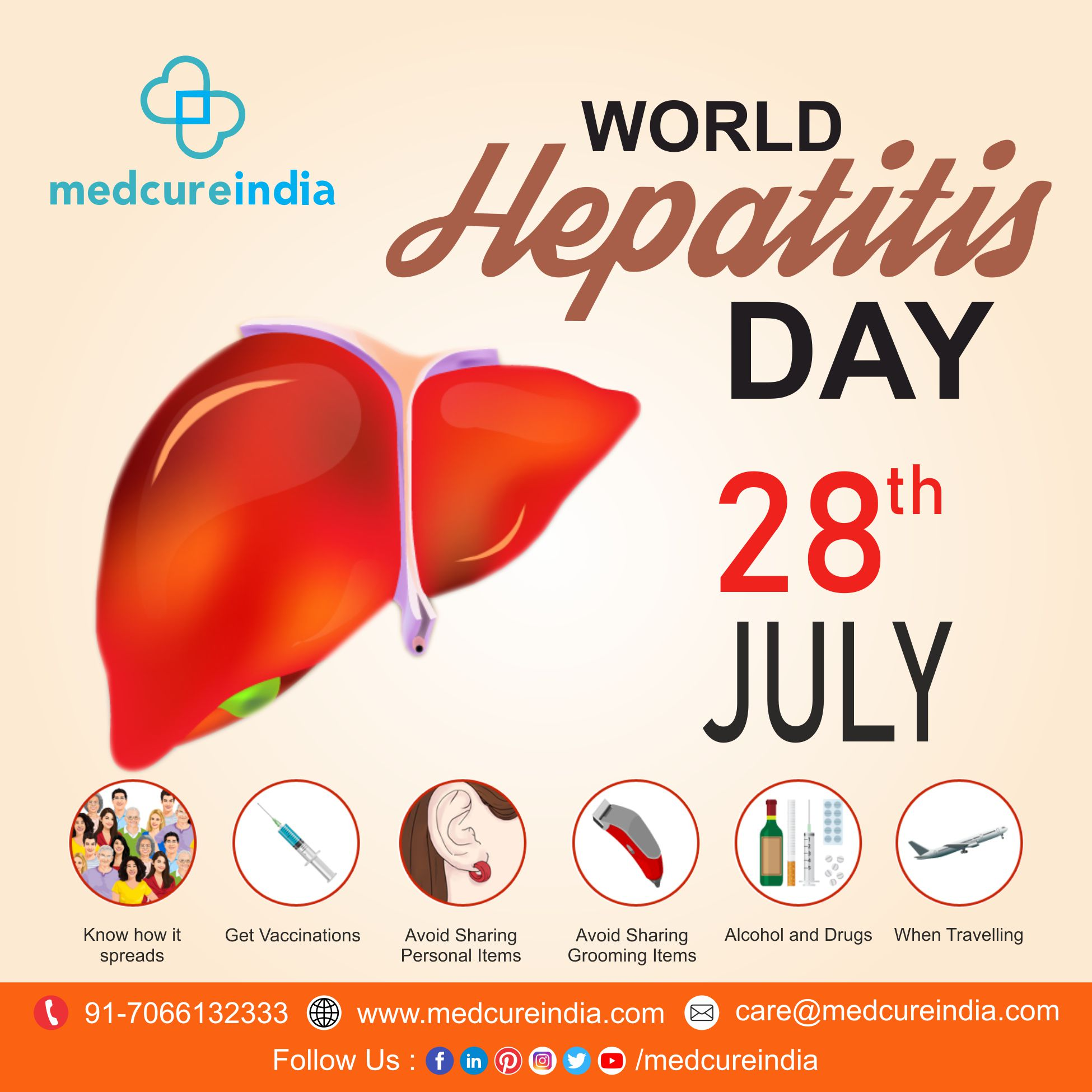 #WorldHepatitisDay is annually held on July 28 to promote awareness of hepatitis, a disease that affects the #liver.  #FindtheMissingMillions #SaturdayMotivation #SaturdayThoughts #health  #LiverProblems #hepatitisA #hepatitisB #hepatitisC  #Hepatitis #hospital #surgeons https://t.co/kvF4bM4gP9