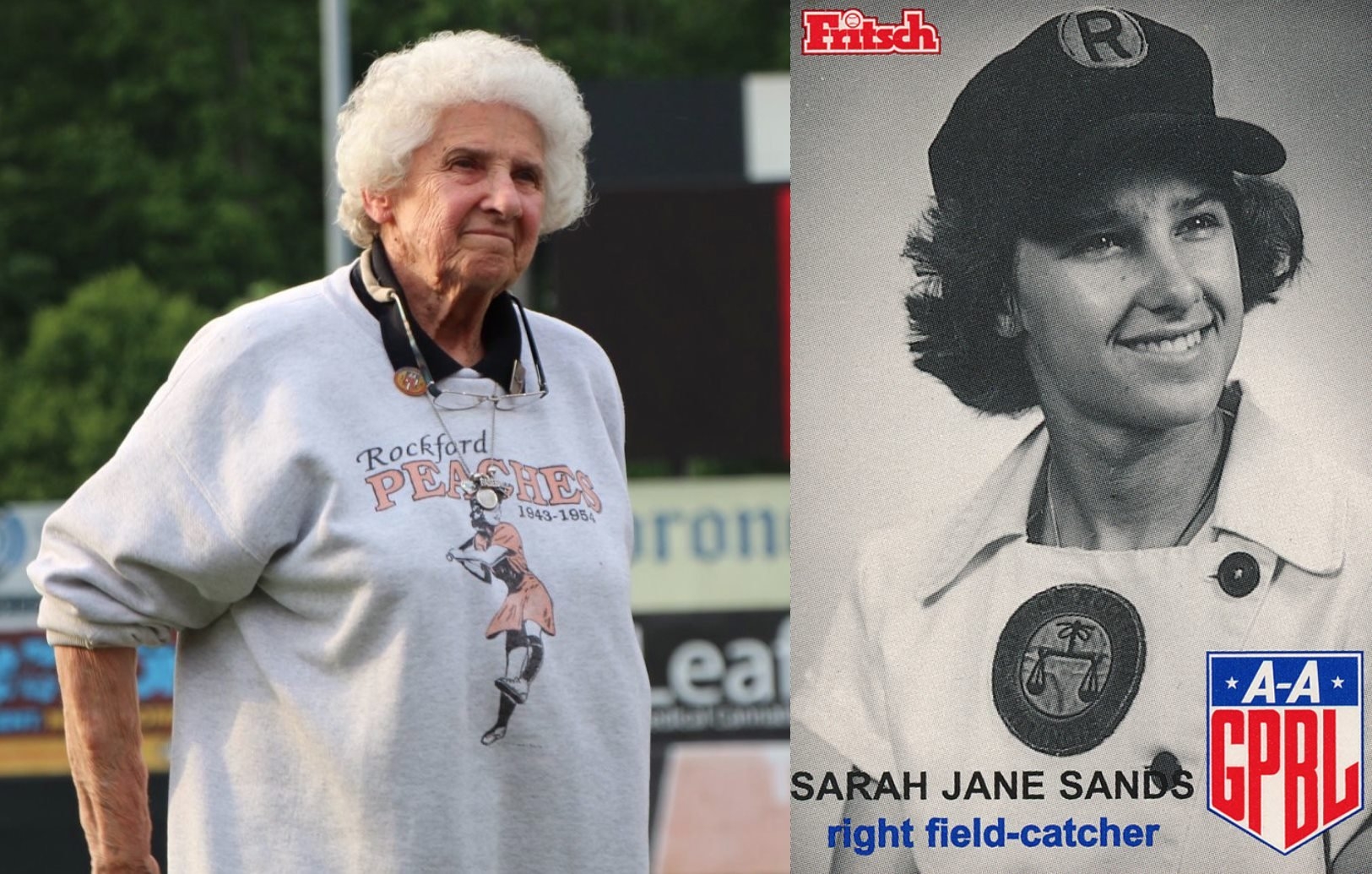"""Happy 84th birthday to Sarah Jane """"Salty"""" Ferguson!! Salty was a right fielder/catcher for the #RockfordPeaches from 1953-'54. When Salty was in high school she would tell everybody that she was going to be a pro baseball player - eventually that dream would come true! #AAGPBL https://t.co/Isj8cK08rr"""