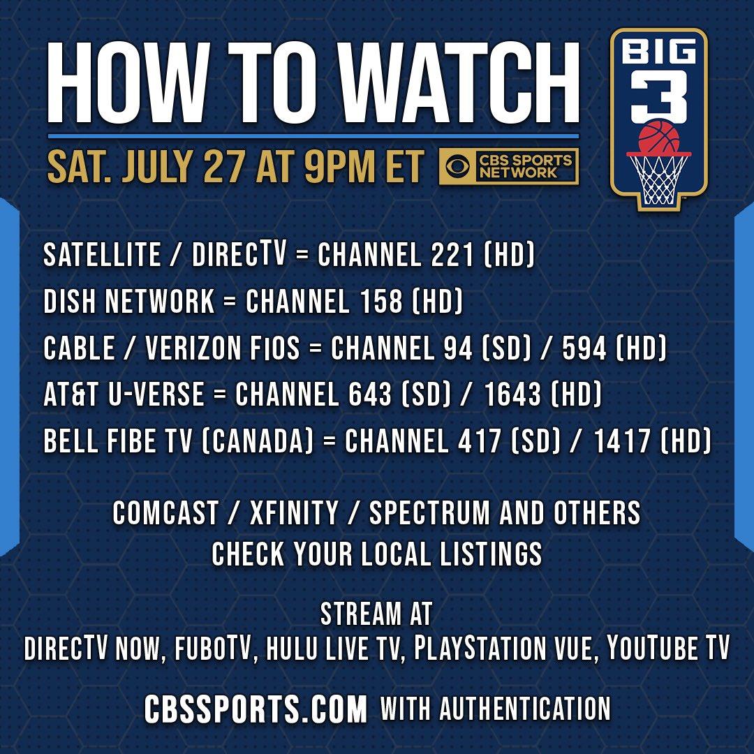 RT @thebig3: Watch #BIG3Basketball at 9PM ET on @CBSSportsNet ???????????? https://t.co/jrkJhb6Slq