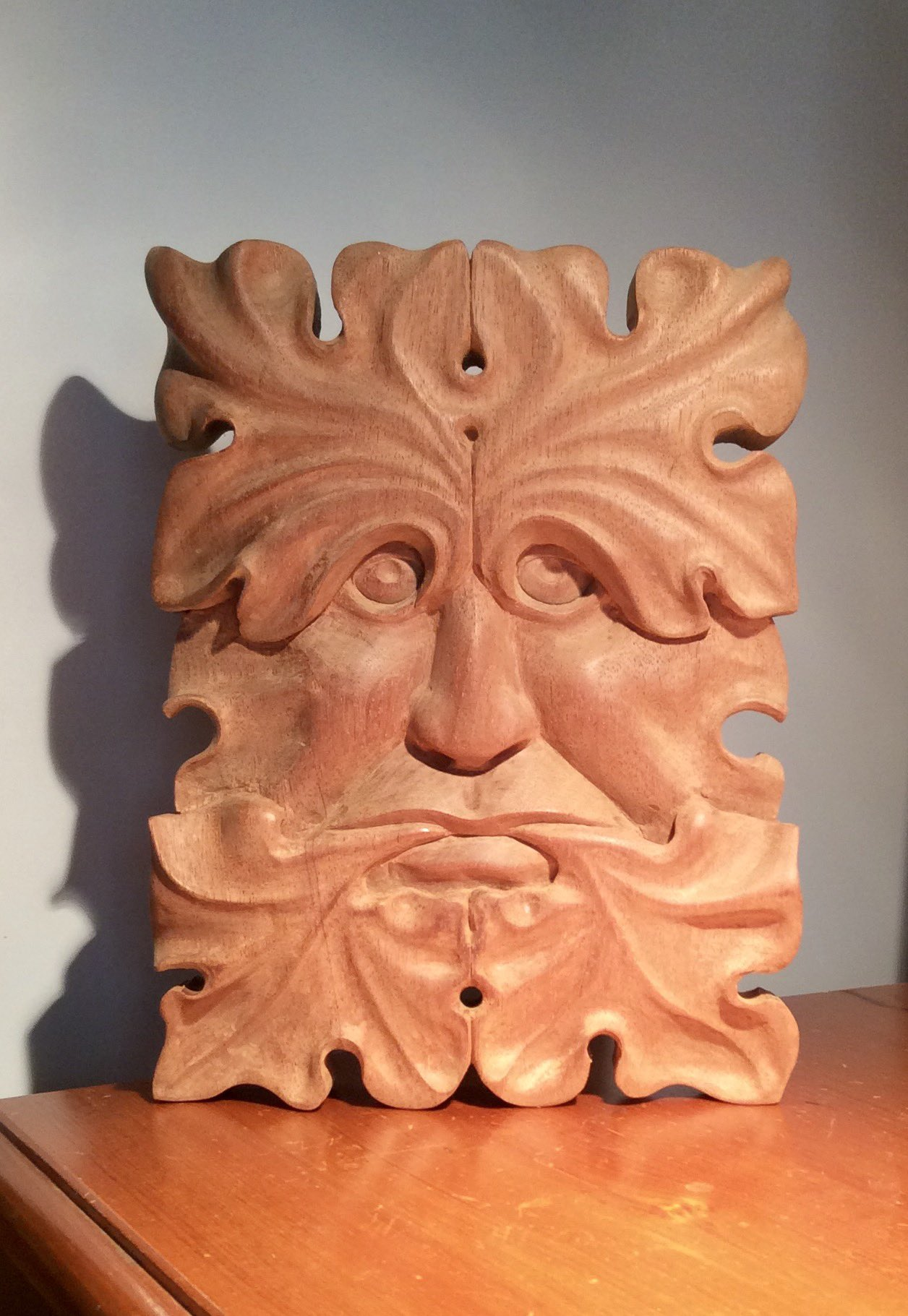 Mahogany green man of Ewyas befor & after wax https://t.co/lokc8Z2gDm