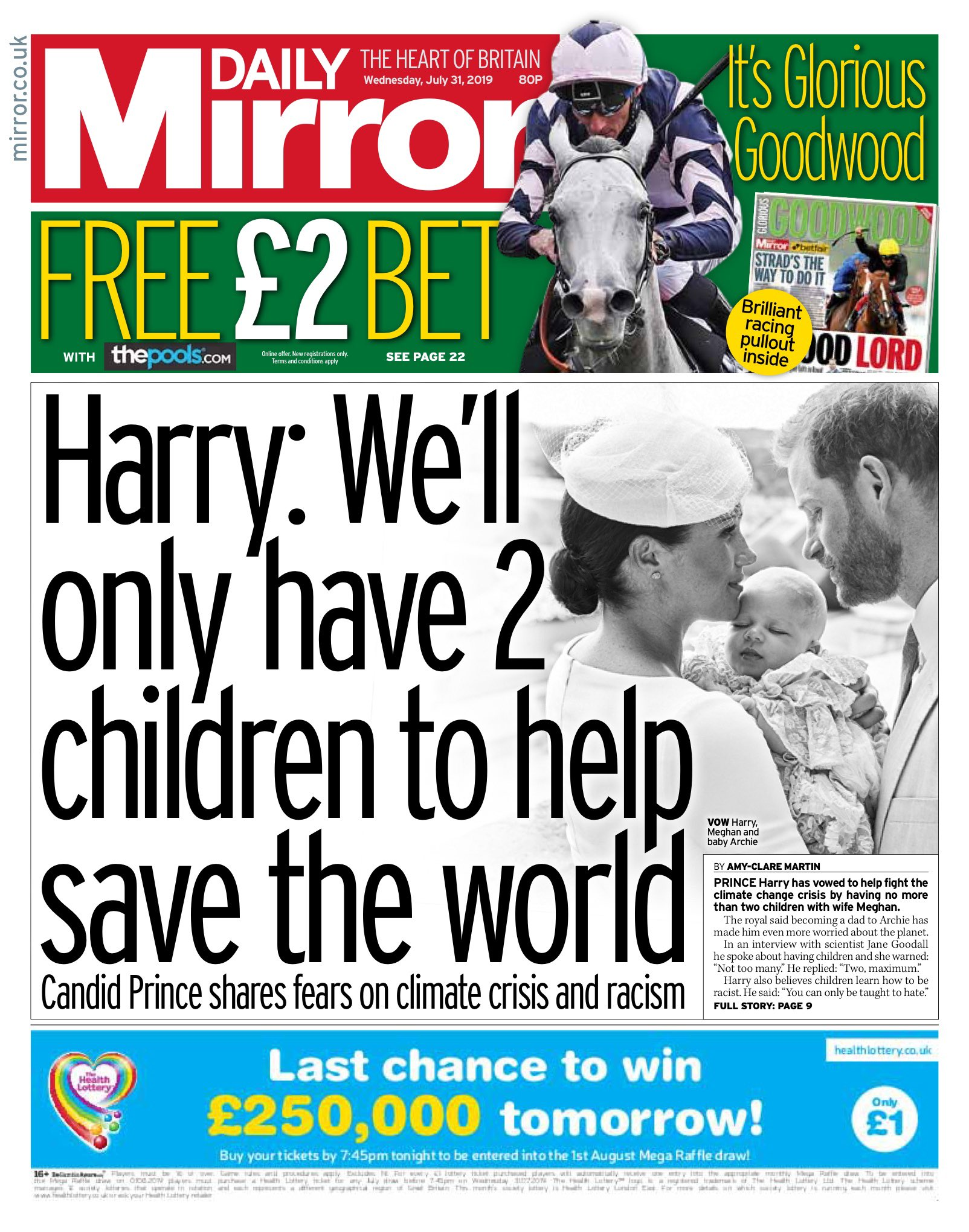 """Wednesday's Mirror: """"Harry: We'll only have 2 children to help save the world"""" #bbcpapers #tomorrowpaperstoday (via @hendopolis) https://t.co/ZqOAourDTd"""