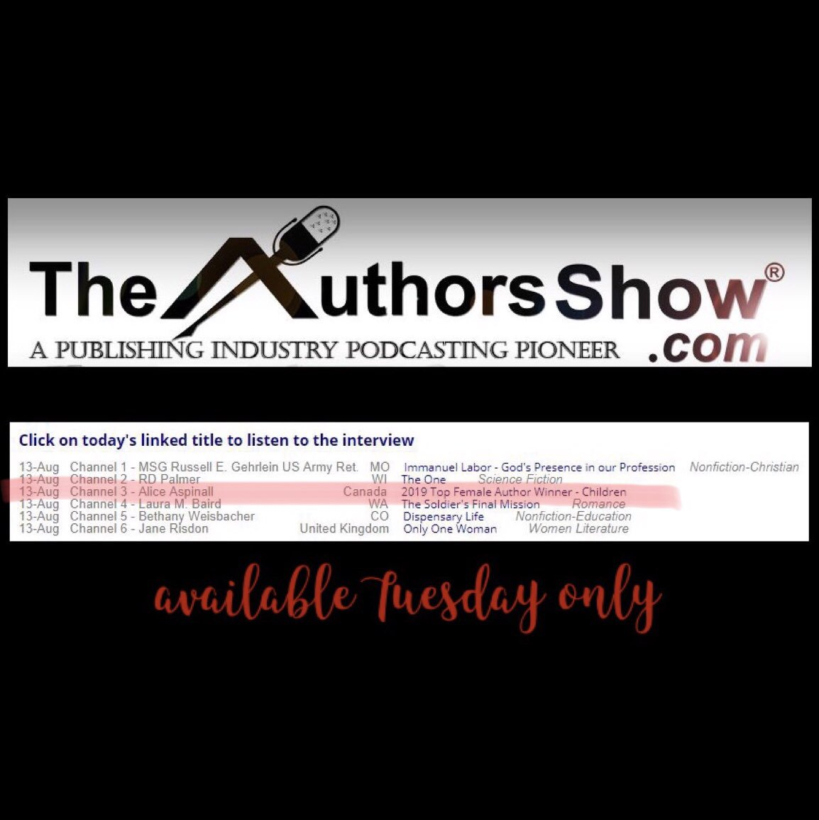 test Twitter Media - Listen to Alice's latest interview about Everyone Can Learn Math and winning the Top Female Author Award today only at @TheAuthorsShow  https://t.co/pNryzcdTl5 #everyonecanlearnmath #picturebooks #childrensbook #childrensbooks #kidsbook #kidsbooks #mathbook #childrensauthor https://t.co/UQjmEL7na7