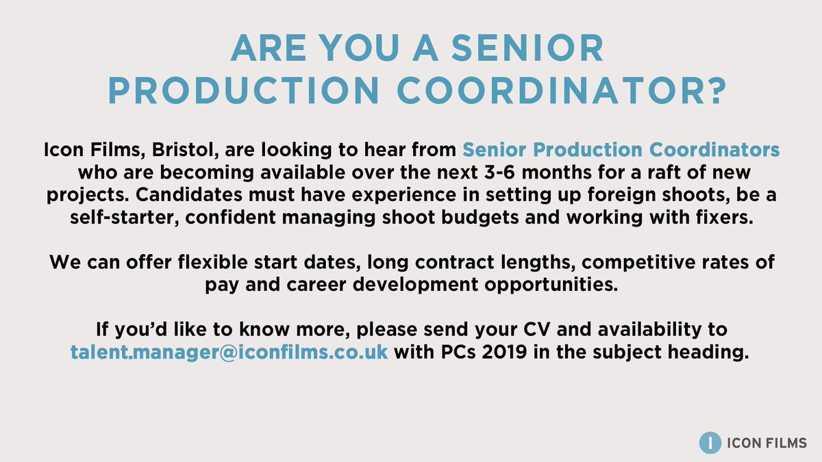 We're looking for Senior #ProductionCoordinators to join the team here in Bristol. If you love a challenge - and natural history television! - get in touch  #BristolJobs 👇 https://t.co/RhDr8uQwA6