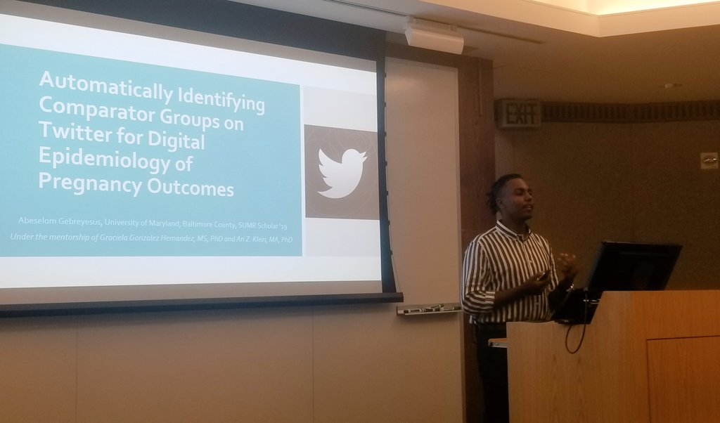test Twitter Media - Abeselom Gebreyesus, one of our @UPennIBI @UPennHLP summer interns, presenting at the Penn SUMR Scholars @PennLDI final symposium his work towards finding a control group for our Social Media based pregnancy studies #SMM4H https://t.co/QoXsfzAm5f