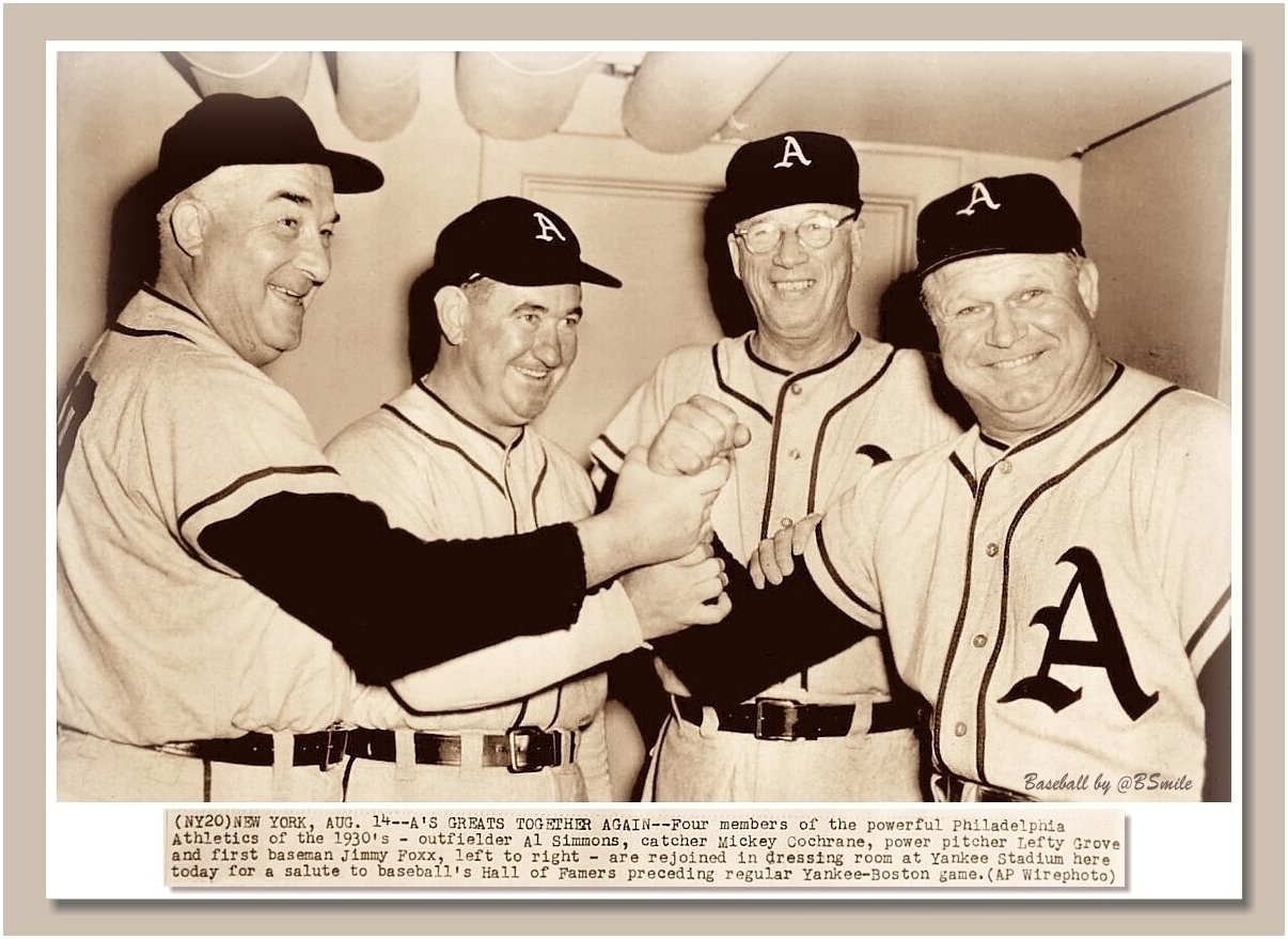 Philadelphia A's Greats Together Again! - Al Simmons, Mickey Cochrane, Lefty Grove & Jimmie Foxx pose during Old-Timers' Day at Yankee Stadium (August 14, 1954) #Athletics #MLB #History https://t.co/m35RDmQYeL