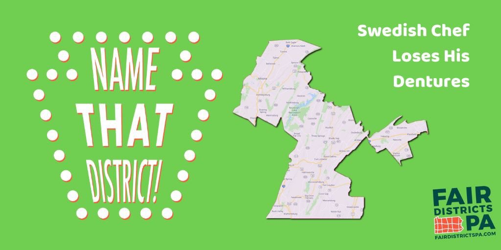 """Meet """"Swedish Chef Loses His Dentures"""" a.k.a. PA Senate District 30. Thanks to all who provided amusing & memorable entries. Stay tuned for more contests & prizes. Together we can #EndGerrymandering https://t.co/eHcryQCVZ7"""