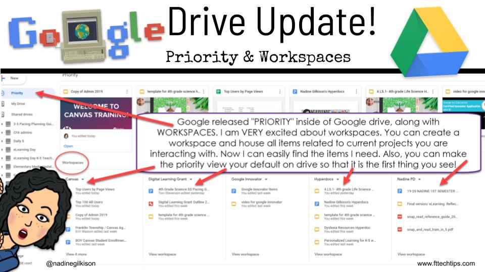 I love priority and workspaces in Google Drive! #tlap #ditchbook #inelearn #hyperdocs #edtech #iste https://t.co/29c9mSRNwX