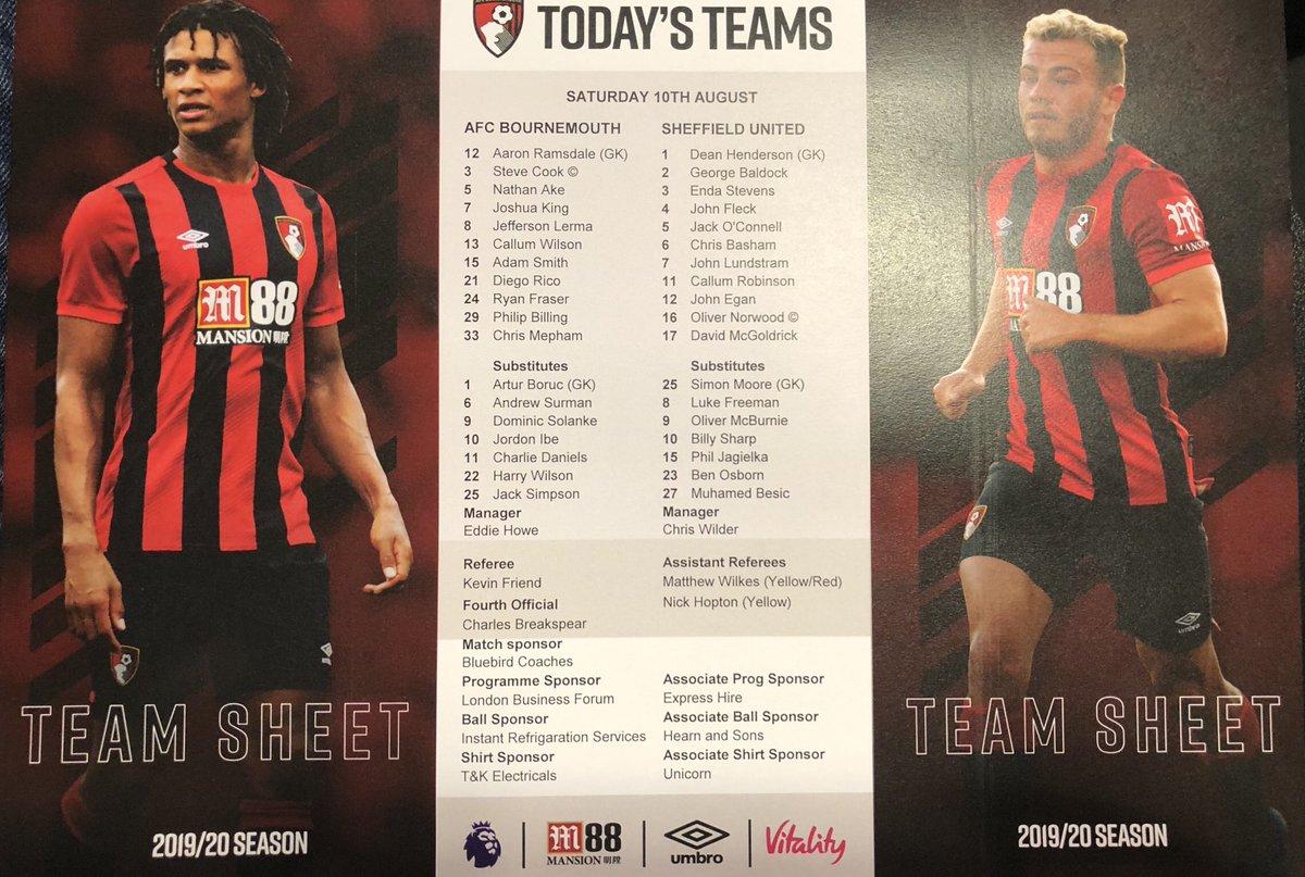 test Twitter Media - The team sheet for today's game at @afcbournemouth v @SheffieldUnited @itvcalendar https://t.co/3AncpTqY99