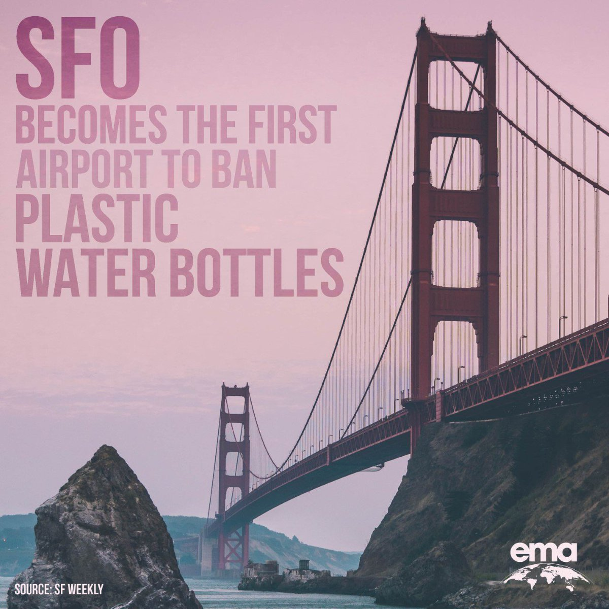 """test Twitter Media - SFO is saying """"goodbye"""" to plastic water bottles! 👋The San Francisco Airport is banning the sale of plastic water bottles after discovering that roughly 10,000 plastic water bottles are bought at the airport every day. We are thrilled by SFO's efforts to reduce waste! https://t.co/4DsUyCgBCN"""