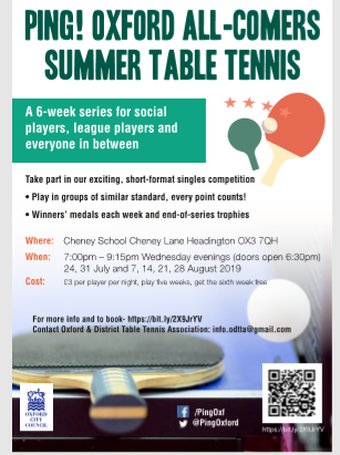 Ping Oxford!  A 6-week series for social players, league players and everyone in between.  Take part in exciting short-format singles competition. Winners' medals each week!  Where: Cheney School, OX3 7QH When: 7:00pm - 9:15pm, Wednesdays   Cost: £ 3 per player per night.