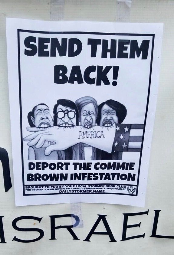 Yesterday, the 3 synagogues in my Southeast Seattle neighborhood were plastered with racist, Trumpist, anti-Semitic flyers touting the Nazi website, Daily Stormer.   Actual Nazis are promoting themselves using Trump's own language. But, you know, both sides! https://t.co/nC41x8rR5G