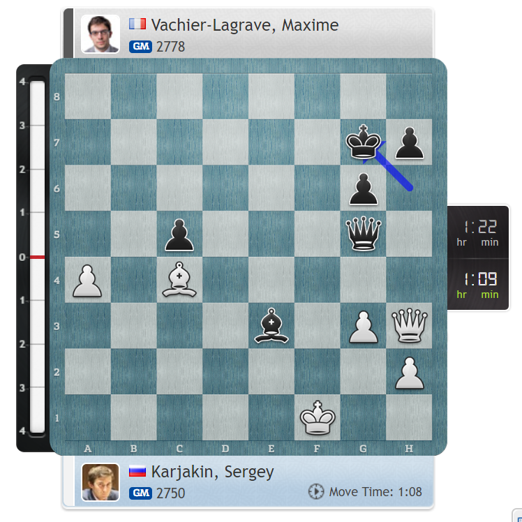 test Twitter Media - Svidler talked about MVL playing too quickly recently - today Maxime has 1 hour and 22 mins on the clock on move 35, but the computer says he's busted! https://t.co/dhjwoTxti6 #c24live #GrandChessTour #SinquefieldCup https://t.co/fGoZY0vpJk