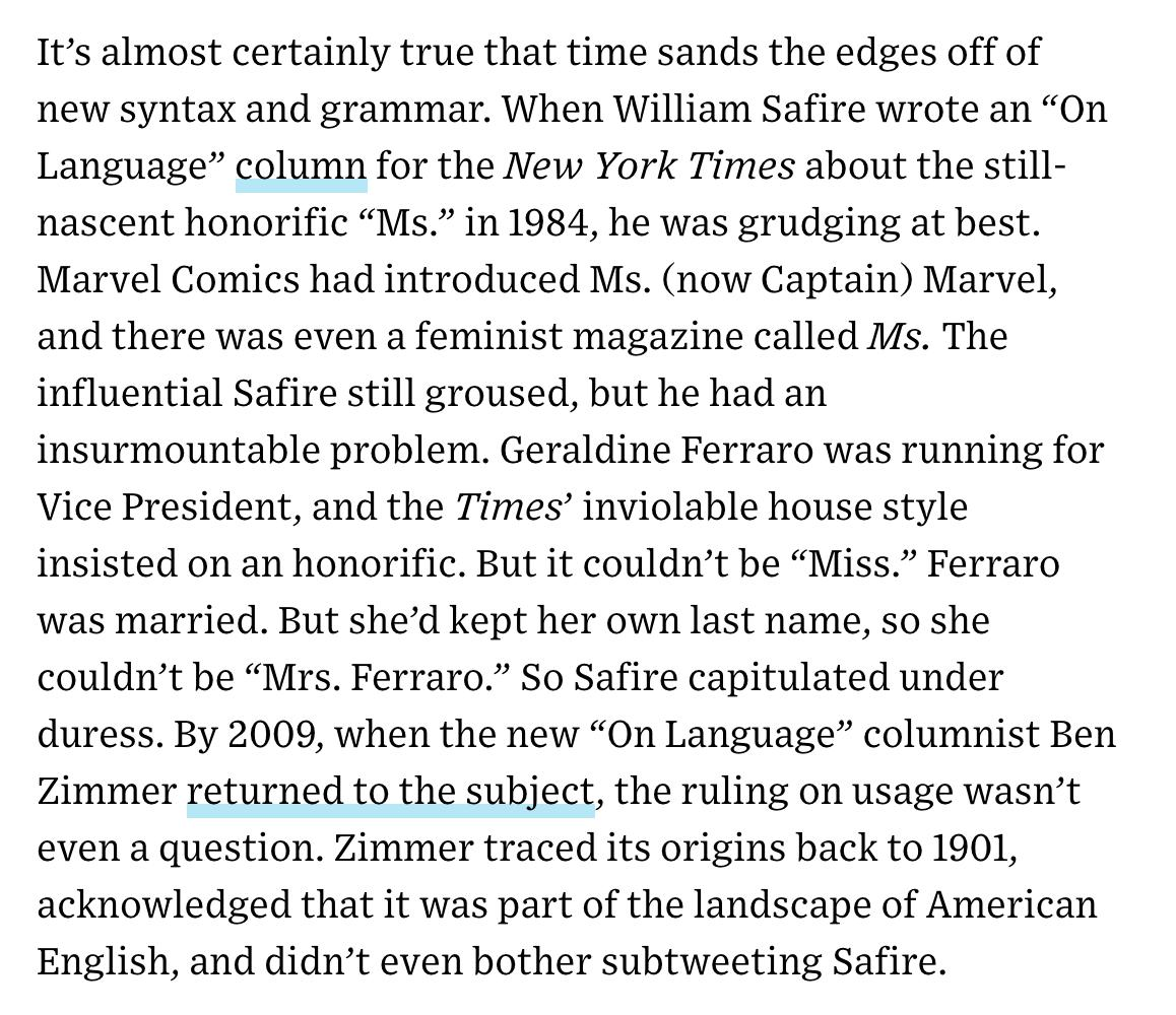 """test Twitter Media - Interesting @WIRED article by @jetjocko about how gender-neutral pronouns can nudge people into thinking differently, citing the gradual acceptance of """"Ms."""" as a historical precedent. (It's true, I never considered subtweeting Bill Safire.) https://t.co/IEqWRlBIcZ https://t.co/vb92ZyUeVf"""