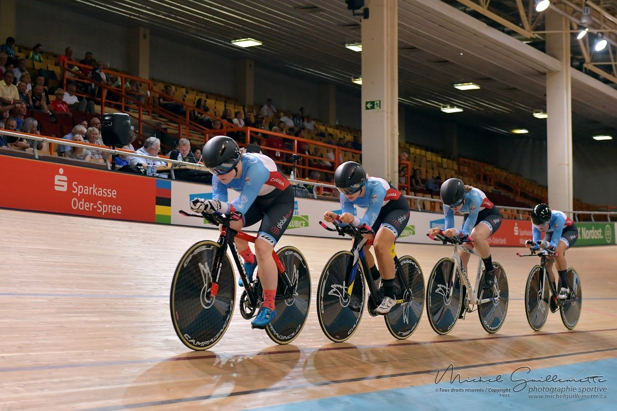 test Twitter Media - Our Junior Women's Team Pursuit squad crushed their ride to break another 🍁 record, with a time of 4:31.926!  Two records in ✌️ days at #Frankfurt2019! https://t.co/pHwayZVYS7