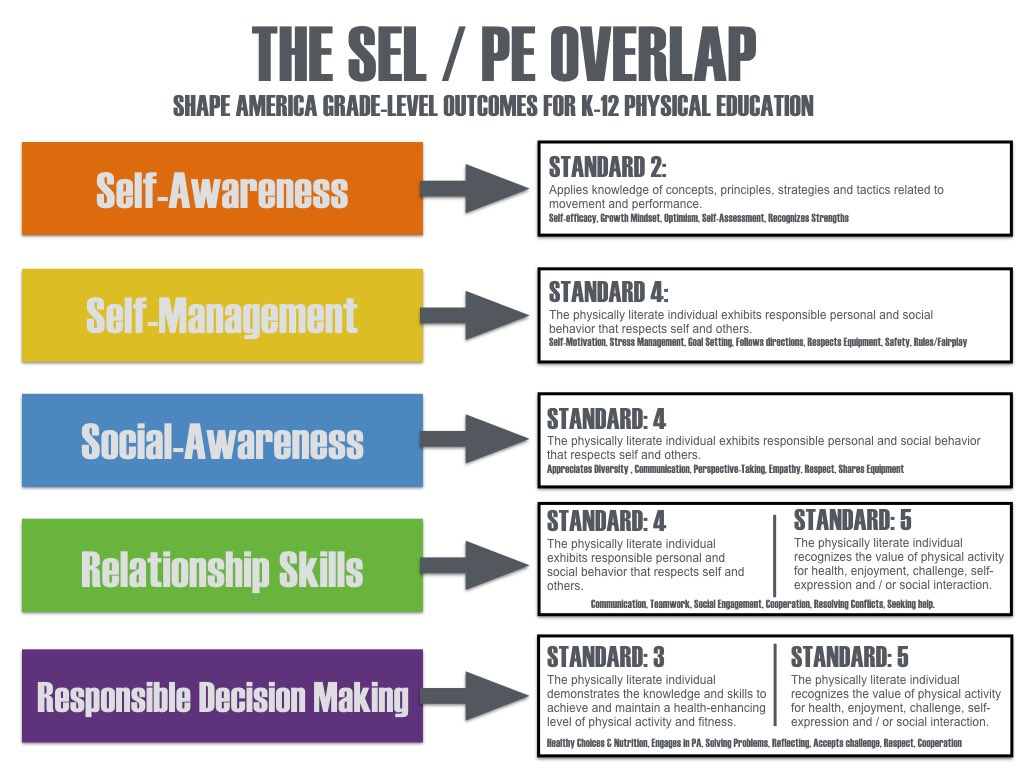 Meaningful integration of #SEL is possible in every area of #physed @PEforlife and I have been talking about this all summer. Inspired by @ScottAmpersand , here are some cheat sheets we created to show areas of integration & progression. https://t.co/Z319lMJ8EX