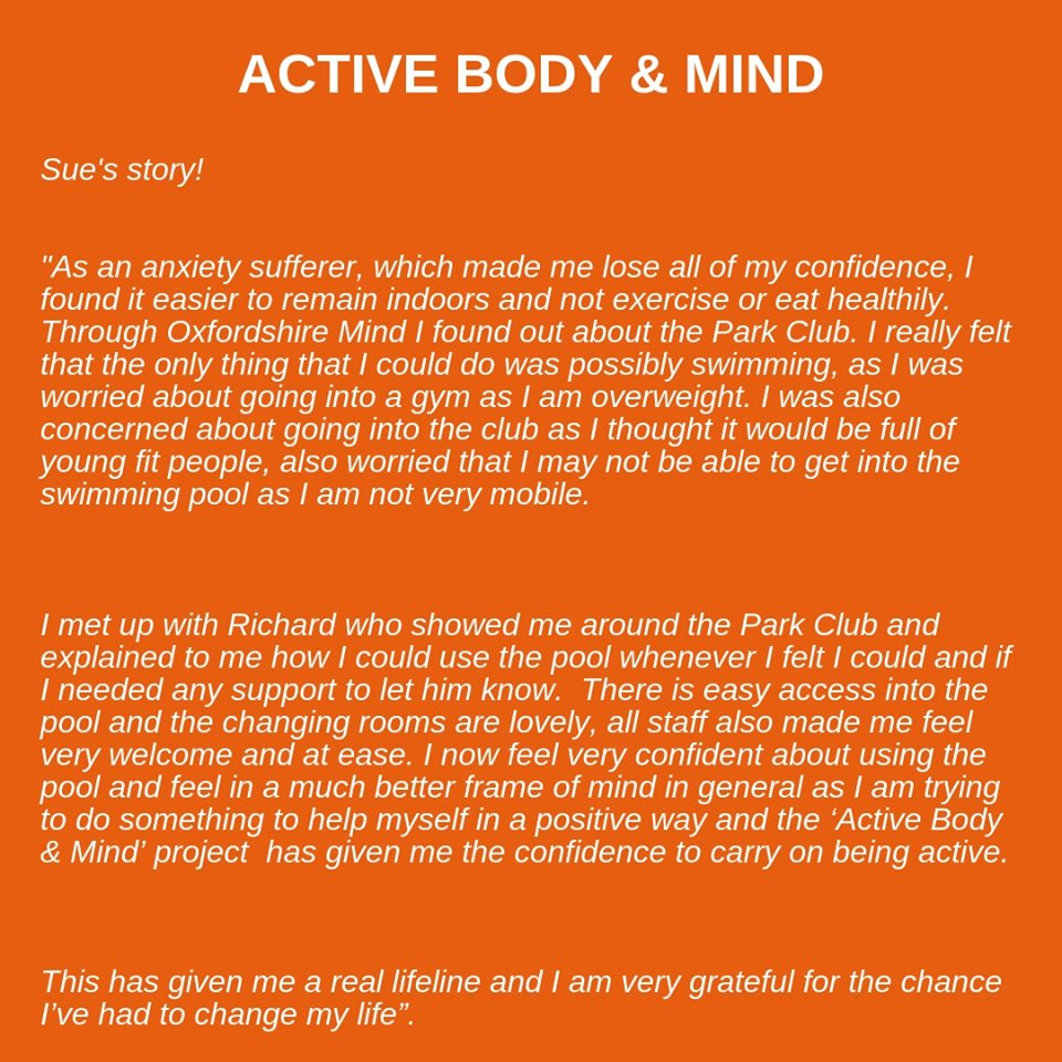 Park Club's Community 'Health' team recently launched a new initiative called 'Active Body & Mind', providing an opportunity for adults experiencing mental health difficulties to use physical activity to improve overall wellbeing read Sue Shellards story https://t.co/8k0zIAIWG9