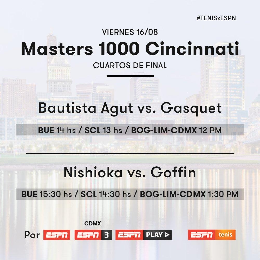 ¡Este viernes es de #TENISxESPN! 🎾🇺🇸  Se juegan los cuartos de final del Masters 1000 de #Cincinnati y vas a poder vivirlos en ESPN, ESPN 3 y @ESPNPLAY. 📺 https://t.co/Yp2Hh8ImOs
