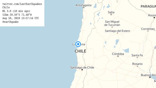 Chile ML 3.6 (16 min ago) 51km 29.56°S 71.40°W Aug 16, 2019 13:27:54 UTC #earthquake  | tweeted by @LastEarthquakes