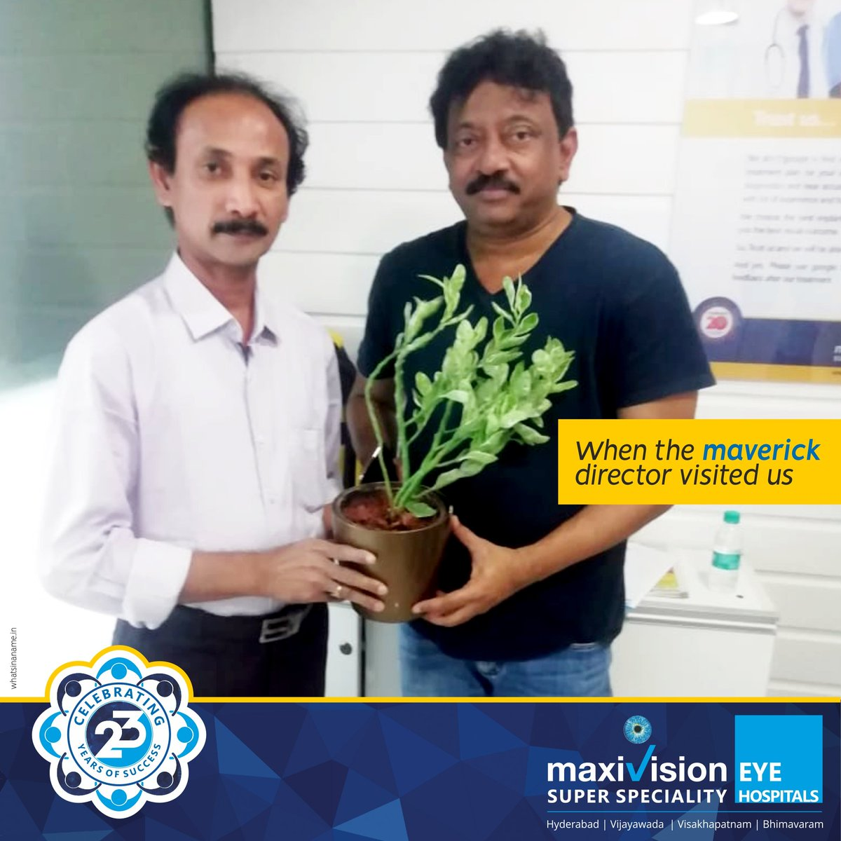 test Twitter Media - We recently had an unusual guest who stepped in for an eye check-up. It was none other than the maverick Indian director, Shri Ram Gopal Varma and we the team of eye specialists were elated to see him.We wish him good health to capture many more movie marvels. #rgv #ramgopalvarma https://t.co/muvpKb1B1F