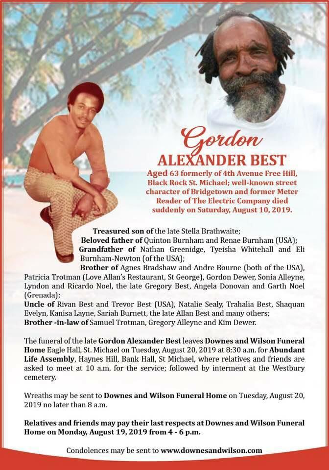 RT @FactsBarbados: RIP Gordon Alexander Best https://t.co/BtZ1qqPXll