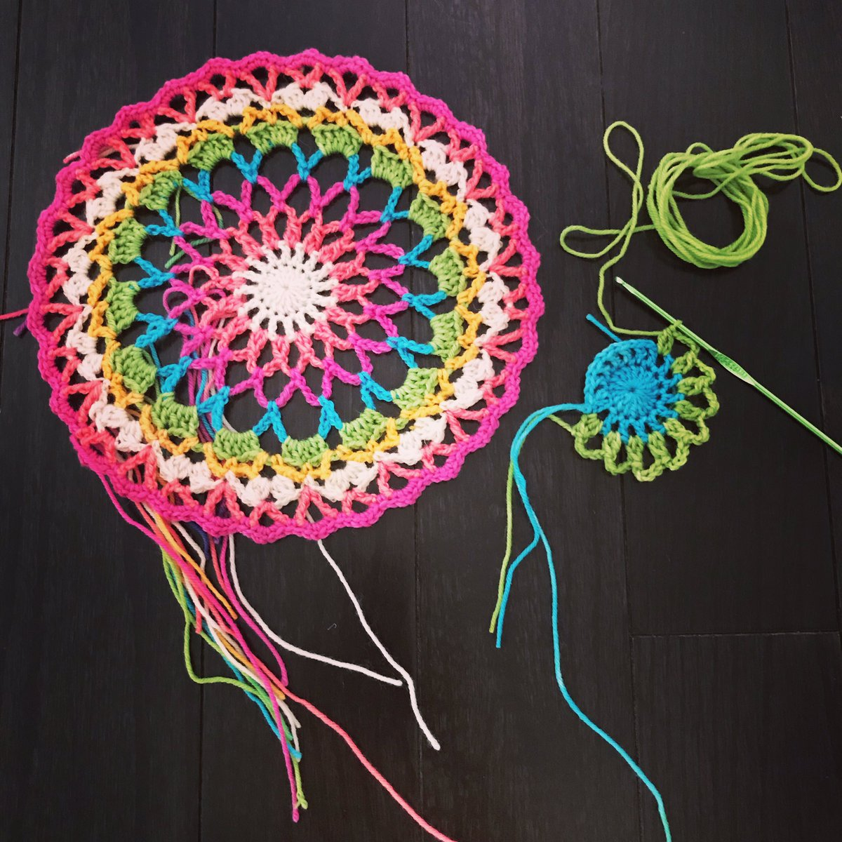 test Twitter Media - The children have been asking for one of these for a long time. They can be called dream catchers or mandalas, but in a Portuguese home, they are crocheted doilies. Repeating patterns and stitches are extremely important in crocheting and knitting.  #everyonecanlearnmath #crochet https://t.co/x5nF2DT923