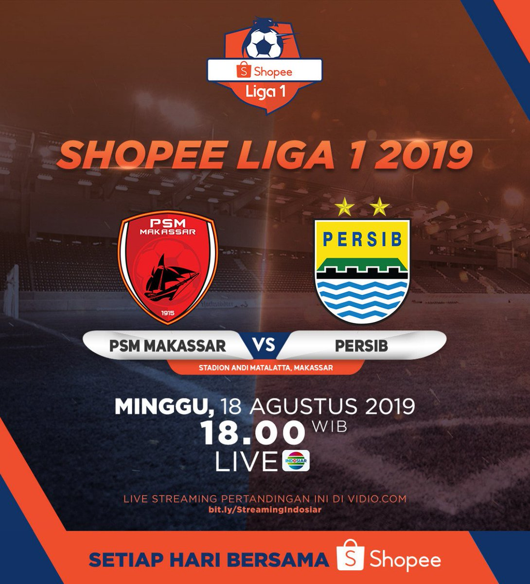 RT @SiaranBolaLivee: #TODAYMATCH #ShopeeLiga1  PSM MAKASSAR vs PERSIB K.O 18.30 WIB INDOSIAR LIVE https://t.co/uR4jb6YAgQ