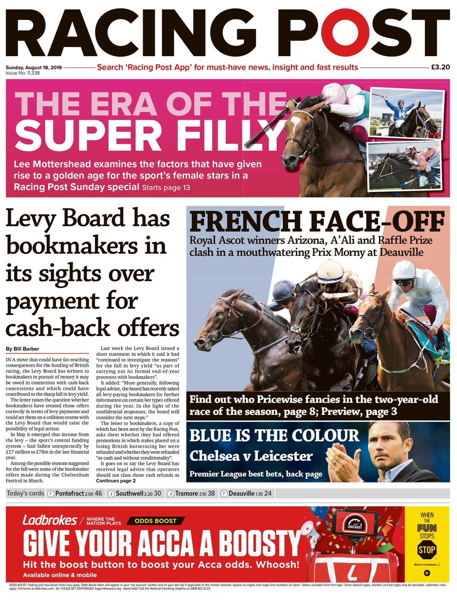RT @RacingPost: Inside today's Racing Post: Royal Ascot winners clash in a mouthwatering Prix Morny at Deauville https://t.co/STdDMeR0Zk