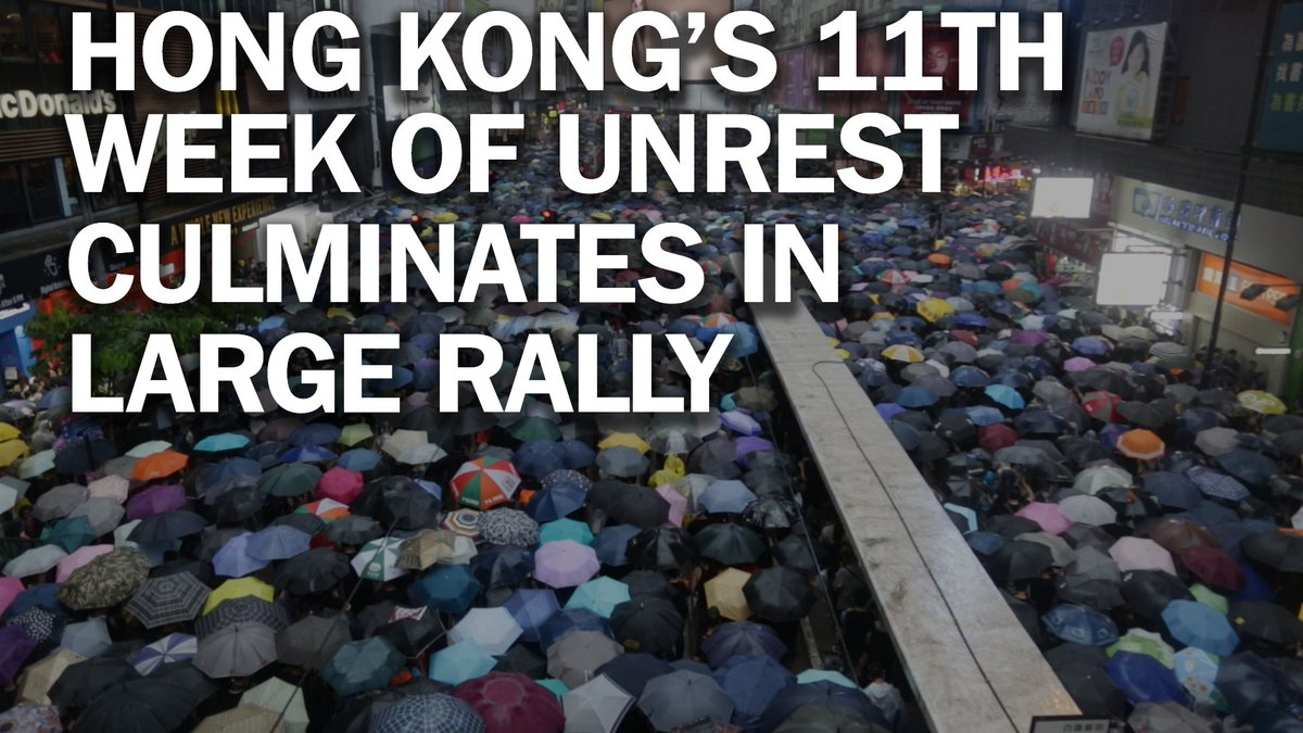 Hong Kong protests show little sign of flagging as large crowds rally for