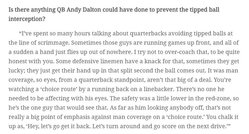 Really good insight from Zac Taylor on Andy Dalton's tipped pass that went back for a score. https://t.co/VxOtEgQOif