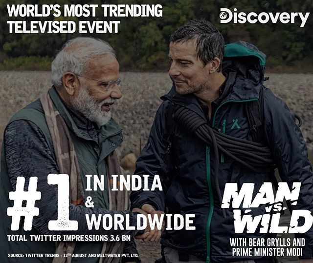 test Twitter Media - 'Officially the world's most trending televised event! With 3.6 BILLION impressions!' 💥💥 (Beating 'Super Bowl 53 which had 3.4 billion social impressions.) THANK YOU everyone who tuned in! 🙏🏻 #PMModionDiscovery #ManVsWild #india https://t.co/OvfRD9EIcq https://t.co/1E0HwiI6ME