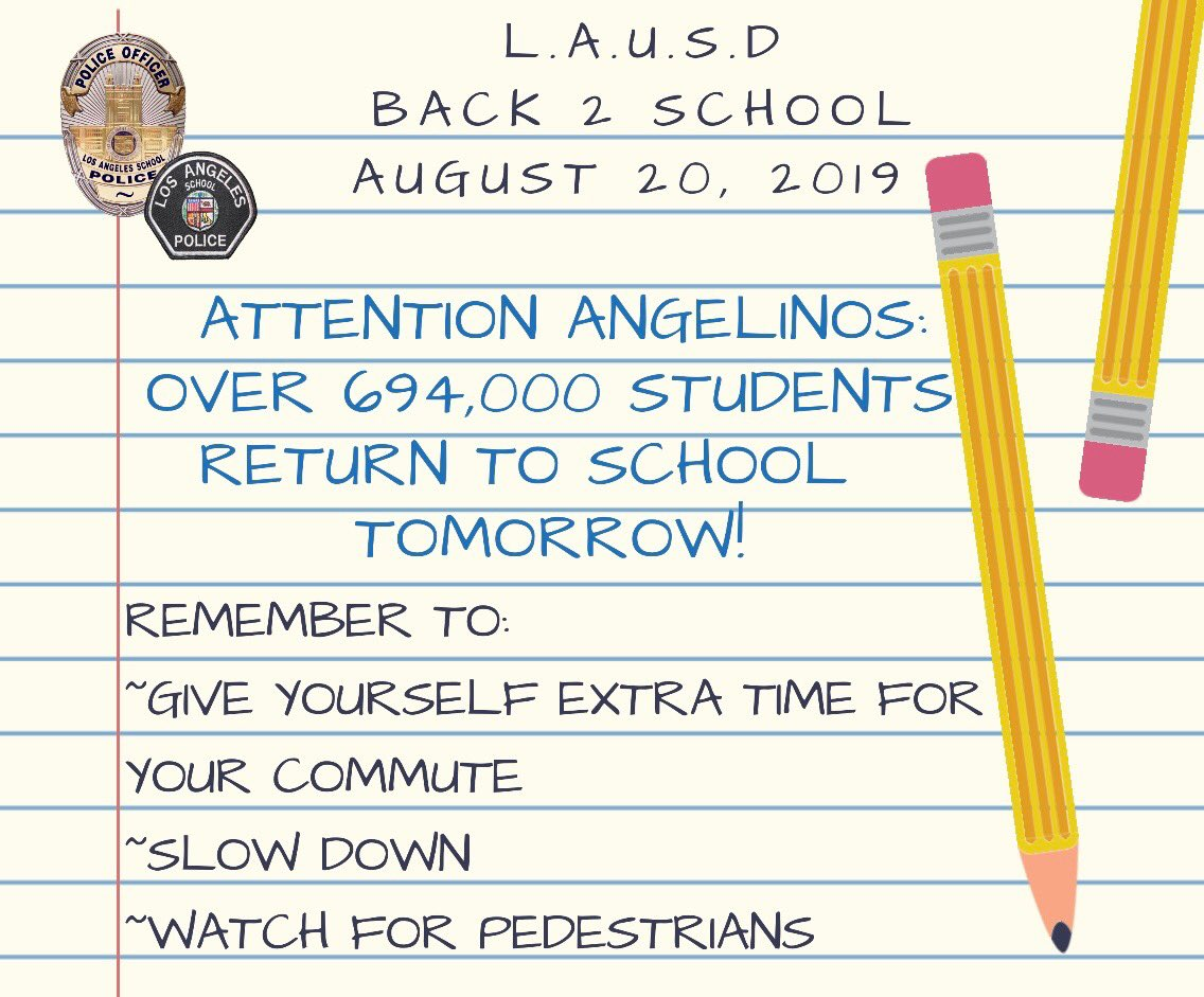 test Twitter Media - 🚨Tomorrow is the 1st day of school for the #LAUSD. Please plan ahead as there will be an increase in traffic & pedestrians within school zones. 🍎✏️📚 #BackToSchool #LAUSDCommunity #FirstDayOfSchool #LASPD #WelcomeBack #SchoolSafety  @LASchools https://t.co/QSoDBBfE2Q