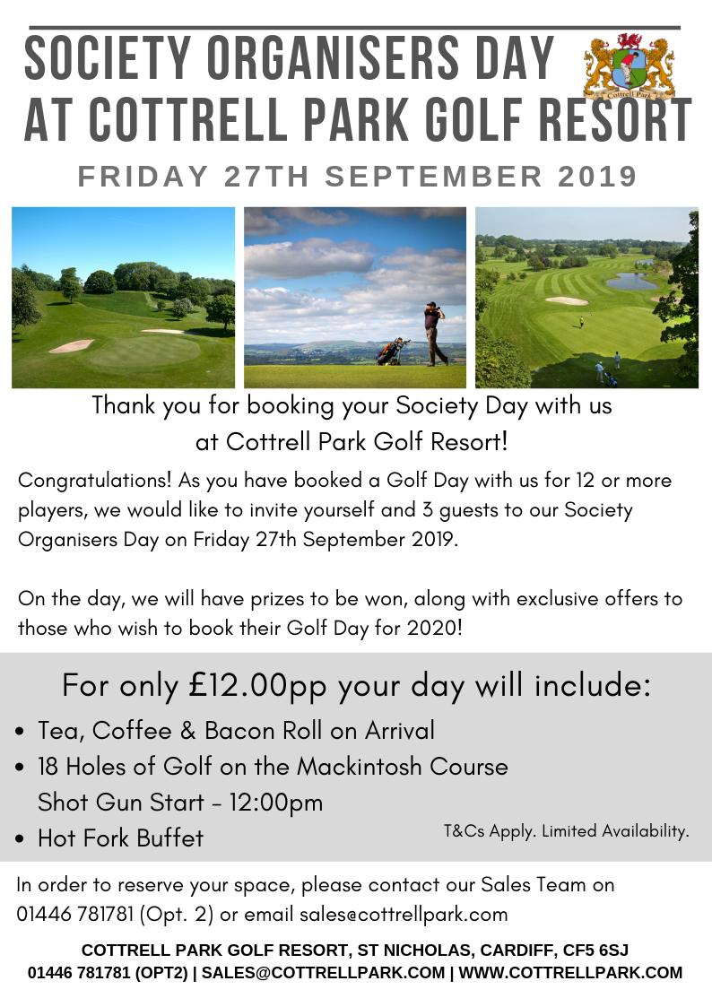 test Twitter Media - Have you held or booked a Society Day with us between Sept 2018 & Sept 2019!? ⛳️  If so make sure to contact us regarding our Society Organisers Day on Fri 27th Sept 2019.  We've extended the offer to the organiser & 3 guests!  01446 781781 (Opt. 2) or sales@cottrellpark.com https://t.co/TkTLZD9fUh