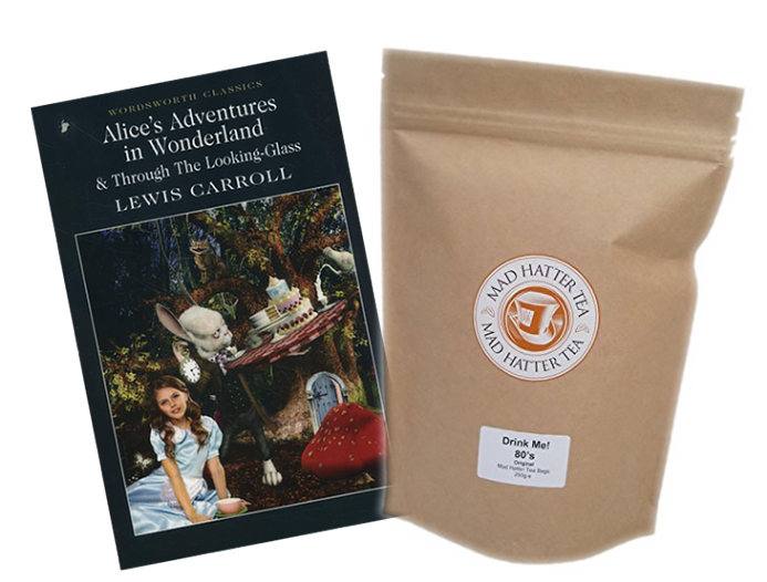 Alice s Adventures in Wonderland book & Mad Hatter retail teabags 80 s