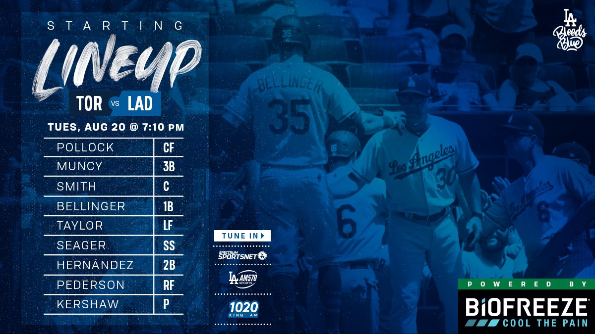 Tonight's Dodger lineup vs. Blue Jays: Pollock CF Muncy 3B Smith C Bellinger 1B Taylor LF Seager SS Hernández 2B Pederson RF Kershaw P  #Dodgers | @Biofreeze https://t.co/IjmtPCUj14
