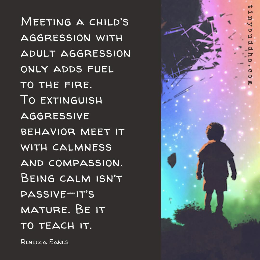 """""""Meeting a child's aggression with adult aggression only adds fuel to the fire. To extinguish aggressive behavior meet it with calmness and compassion. Being calm isn't passive—it's mature. Be it to teach it."""" ~Rebecca Eanes https://t.co/4gZWmBTvJY"""