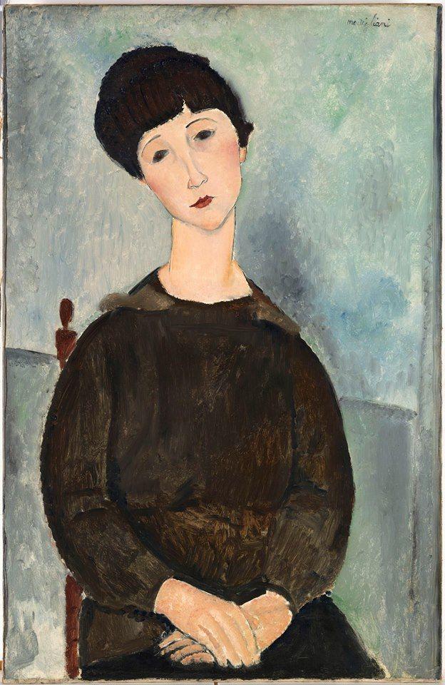 Amedeo #Modigliani, La Chevelure noire, dit aussi Jeune fille brune, assise 1918. https://t.co/w5kcc5M2LM