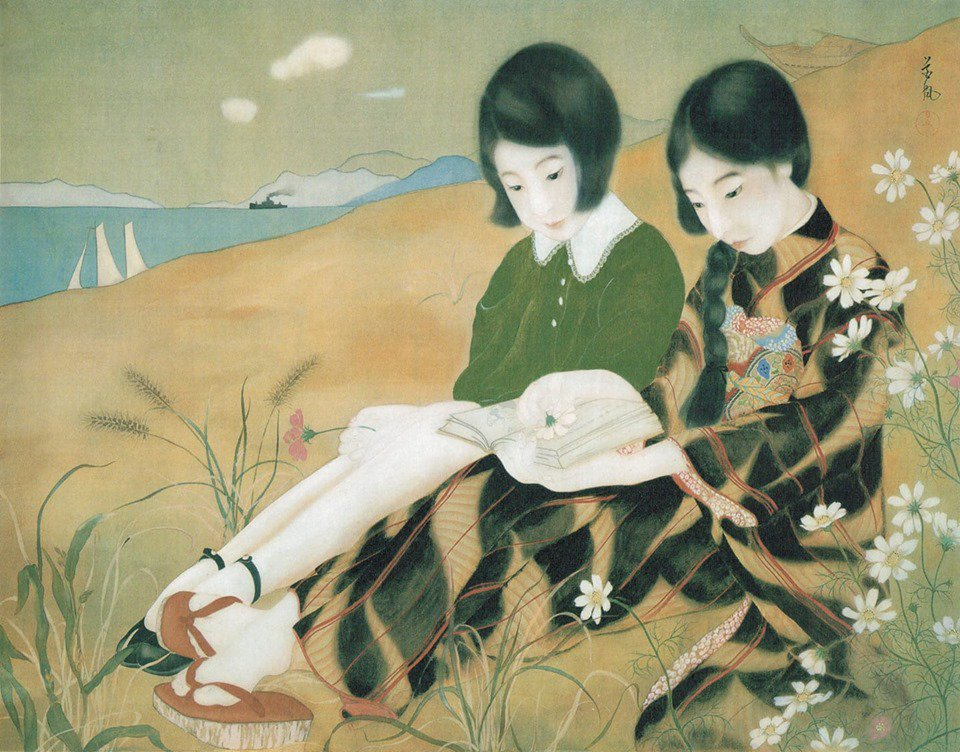Two Girls by the Sea , Kafu, c. mid-1920s. https://t.co/gJV3g41VcT