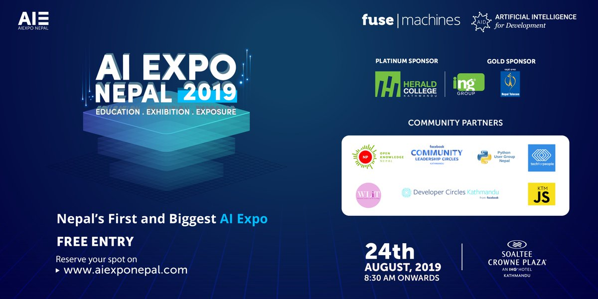test Twitter Media - We are excited to present our Community Partners for #AIExpoNepal2019! 😃  Sign up here for FREE registration: https://t.co/xeSLvivsTa  Date: August 24, 2019 Venue: Soaltee Crowne Plaza  #AIExpoNepal #ArtificialIntelligence #AI #EventsToAttend https://t.co/H4nKzP6zwS