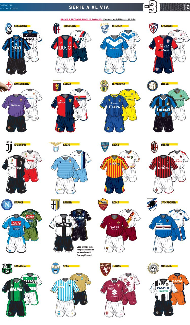 These illustrations of the new home and away kits for @SerieA are fantastic from @CorSport! 🇮🇹 https://t.co/gIyq0t1IbG