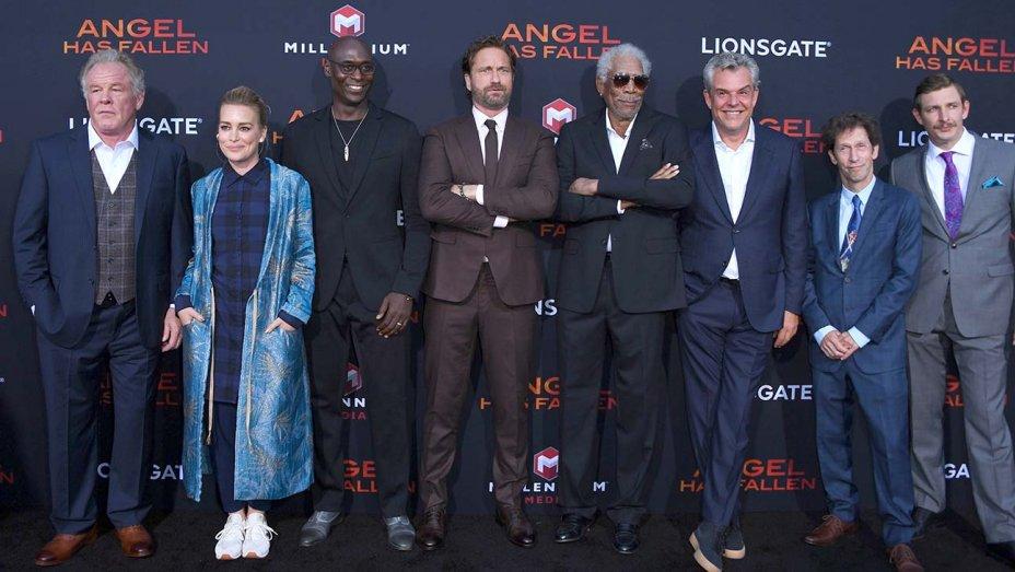 "Morgan Freeman, @GerardButler talk ""more human"" film at the AngelHasFallen premiere"