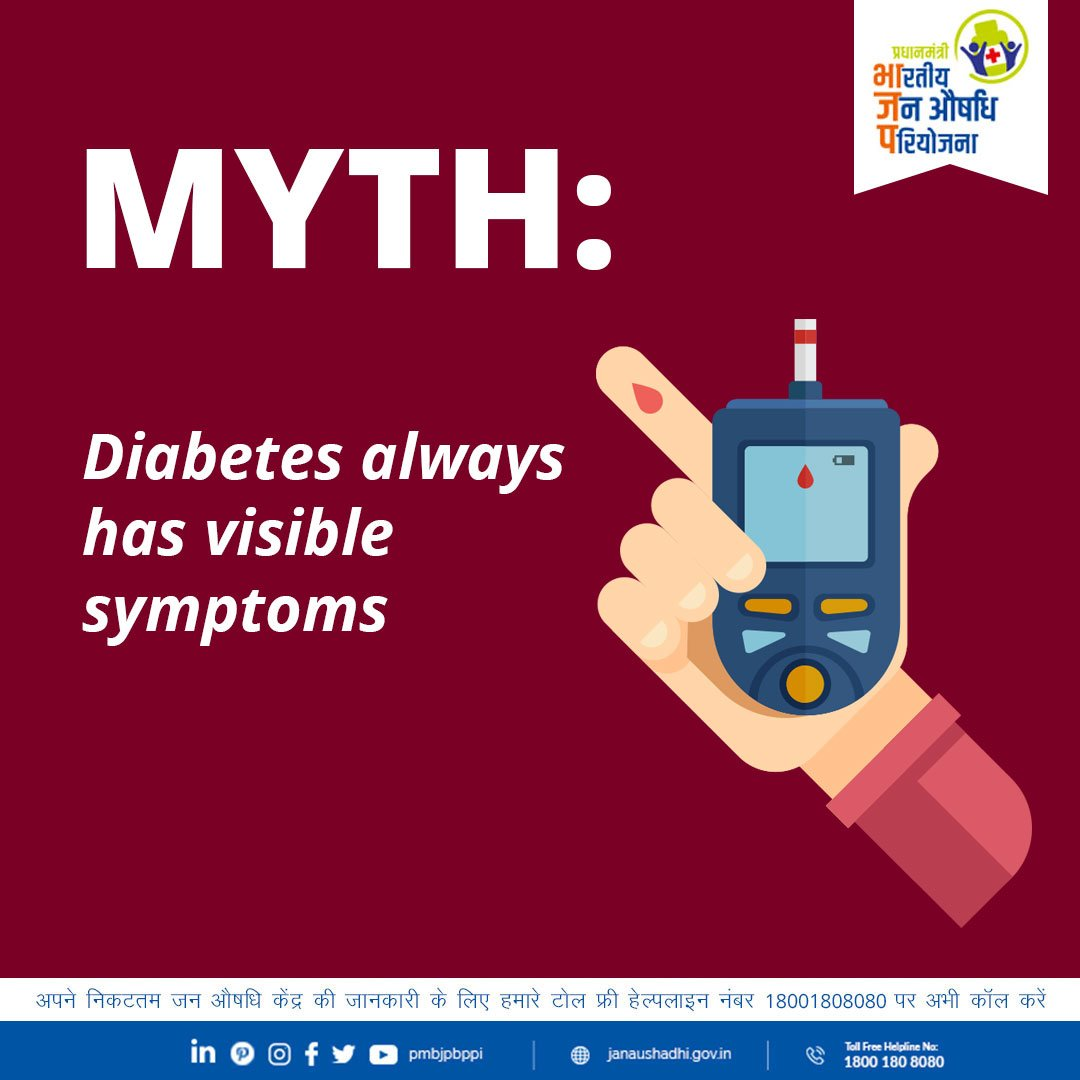 test Twitter Media - One of the difficulties with identifying #diabetes is that its symptoms can be invisible. One must get their blood tested at regular intervals for early detection and timely action.  #BloodSugar  @DVSadanandGowda @mansukhmandviya @MoHFW_INDIA @Pharmadept  @PIB_India https://t.co/Hw9c3QFtPE