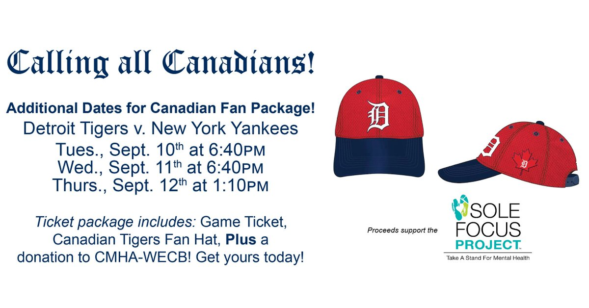 test Twitter Media - The @tigers have added 3 more dates for the Canadian Fan Game package! Sept. 10-12 vs. @Yankees Get your tickets and commemorative hat today! https://t.co/SLxfE5MMZa #showyoursole https://t.co/rgQWkogKPq