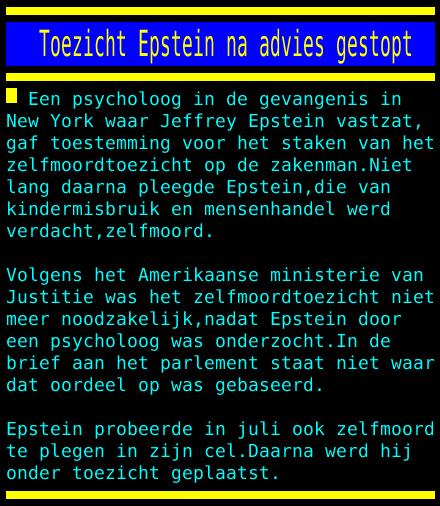 test Twitter Media - Toezicht Epstein na advies gestopt https://t.co/5UUlzNqOw5