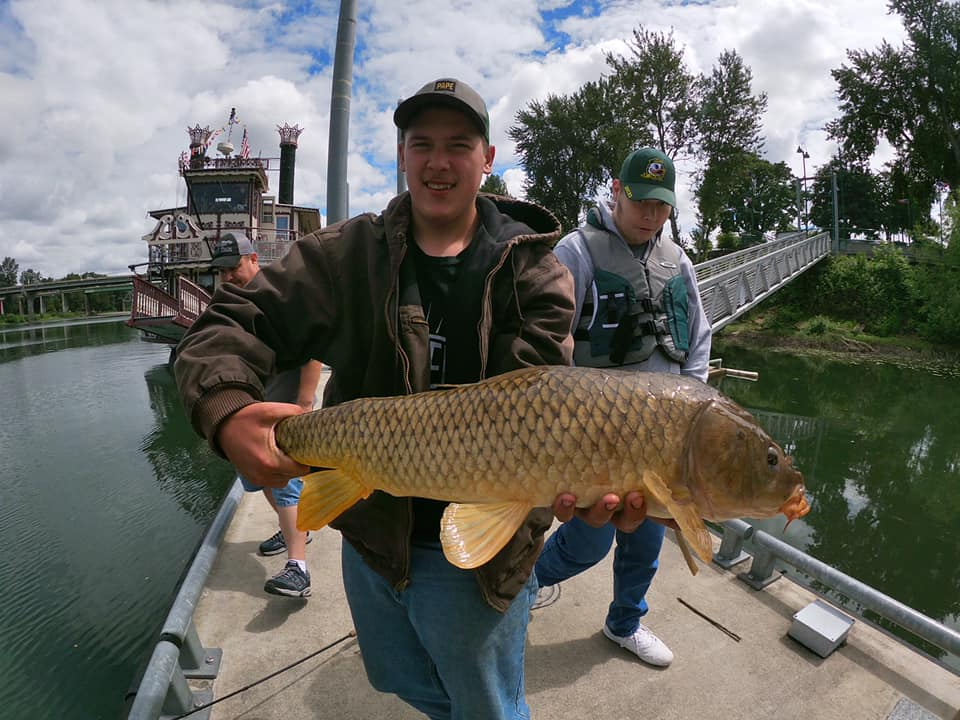 Mitchell Hill with a <b>Common Carp</b> from Salem, Oregon. #carp #carpfishing #commoncarp #fishingu
