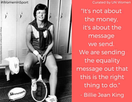 """🎾Did you know that all four major tennis tournaments, including the #USOpen, award equal prize money to women & men?  It's the result of a hard-fought """"battle of the sexes"""", dating back to 1973 when tennis icon @BillieJeanKing pushed for #equalpay for #WomenInSport. https://t.co/4jqDGYfxiU"""