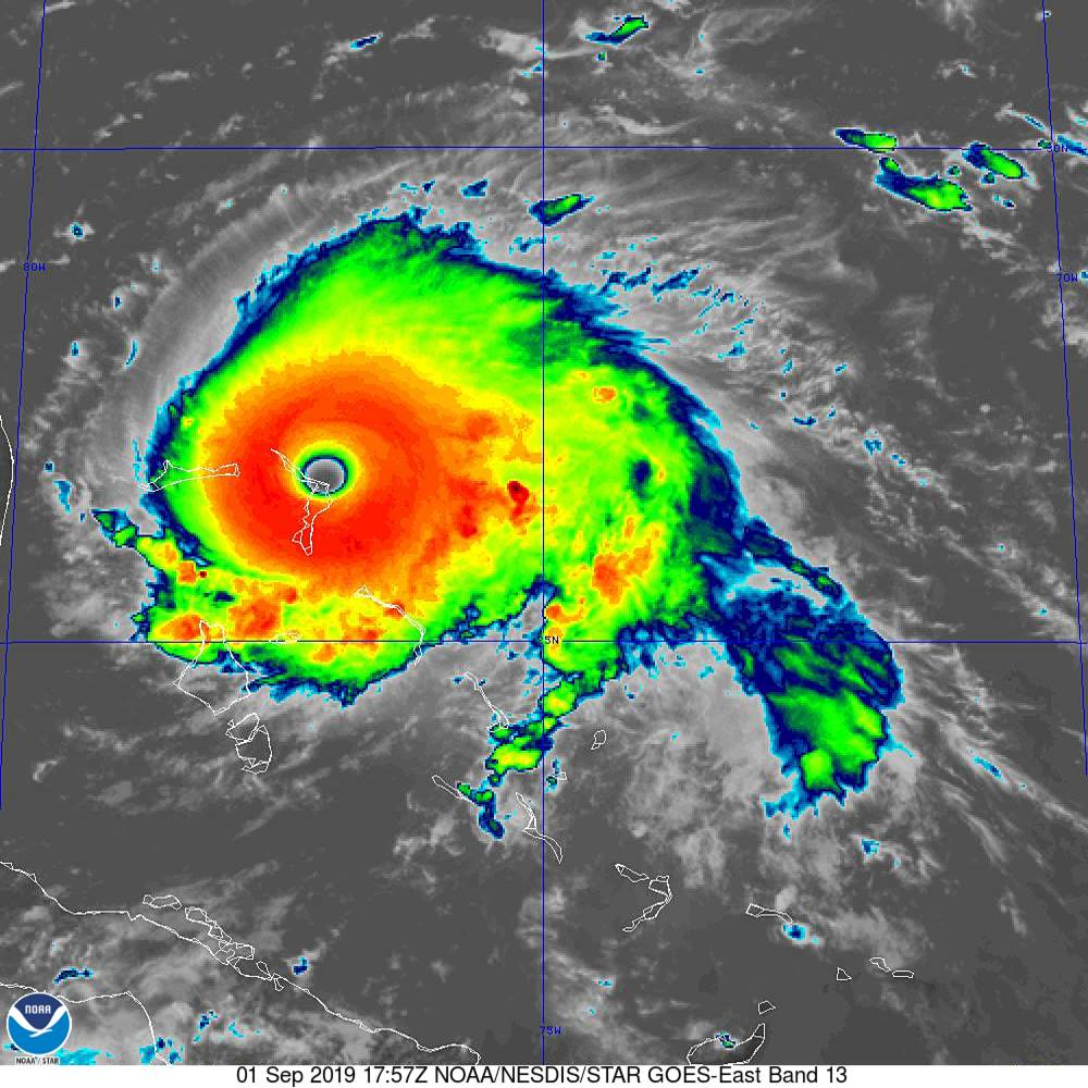 The eye of #Dorian has made a second landfall at 2 pm EDT (1800 UTC) on Great Abaco Island near Marsh Harbour.  Maximum sustained winds were 185 mph at the time. This is tied for the strongest Atlantic hurricane landfall on record with the 1935 Labor Day hurricane. https://t.co/O9hrotTTbS