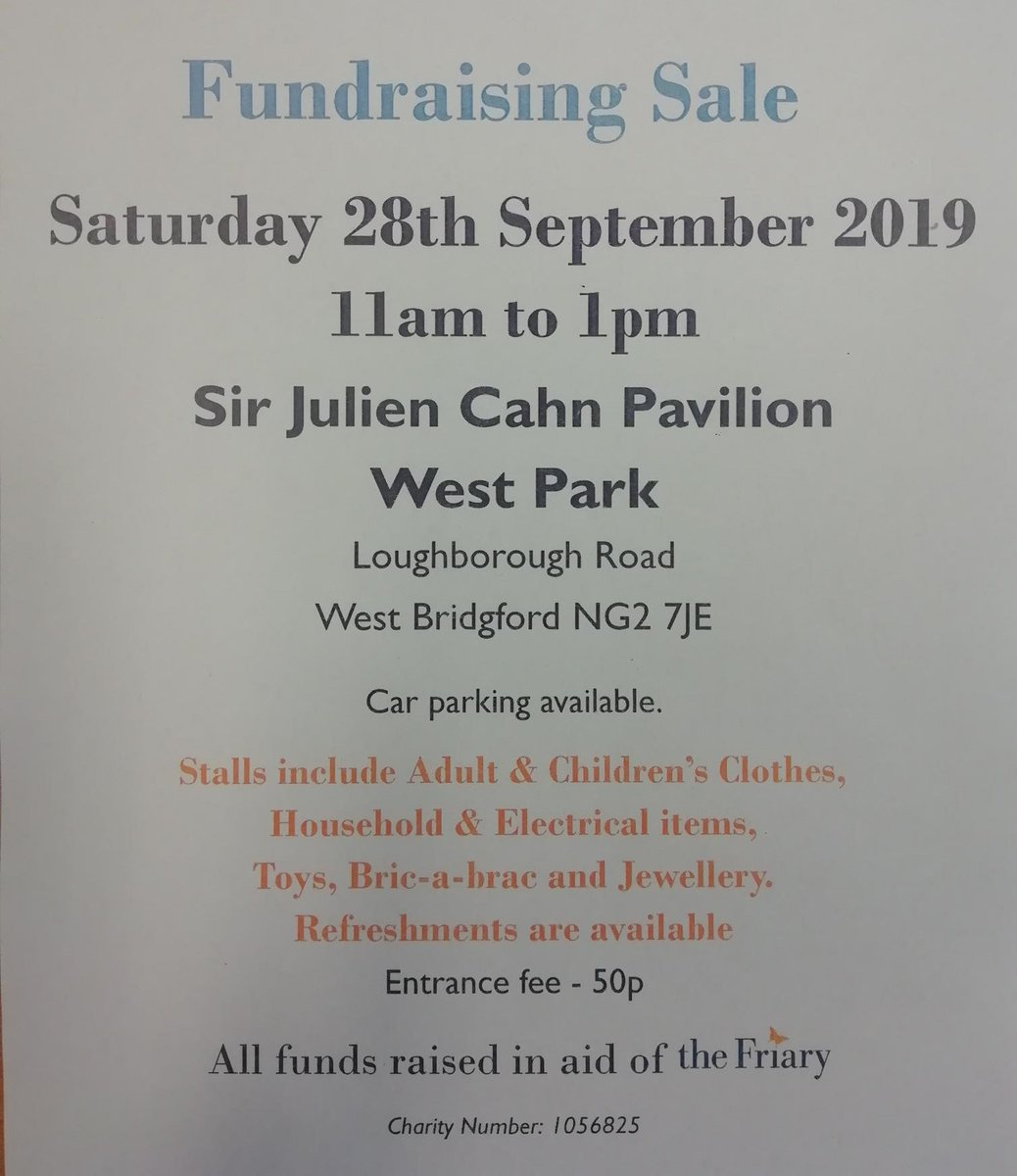 test Twitter Media - A reminder that our next #Fundraising Sale, kindly supported by @bigyellowss, is on Saturday 28th September 11am -1pm at West Park in #WestBridgford See you there 👍 #Nottingham https://t.co/LMYtcSVVuA