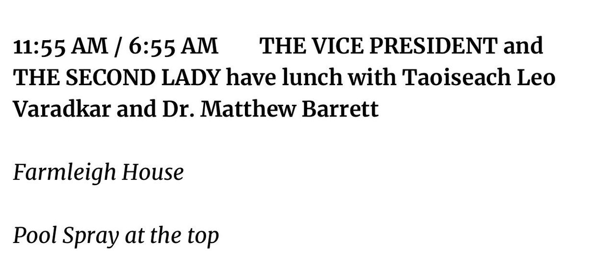 For all of you who still think our @VP is anti-gay, I point you to his and the @SecondLady's schedule tomorrow where they will join Taoiseach @LeoVaradkar and his partner Dr. Matthew Barrett for lunch in Ireland. 🇮🇪 @merrionstreet